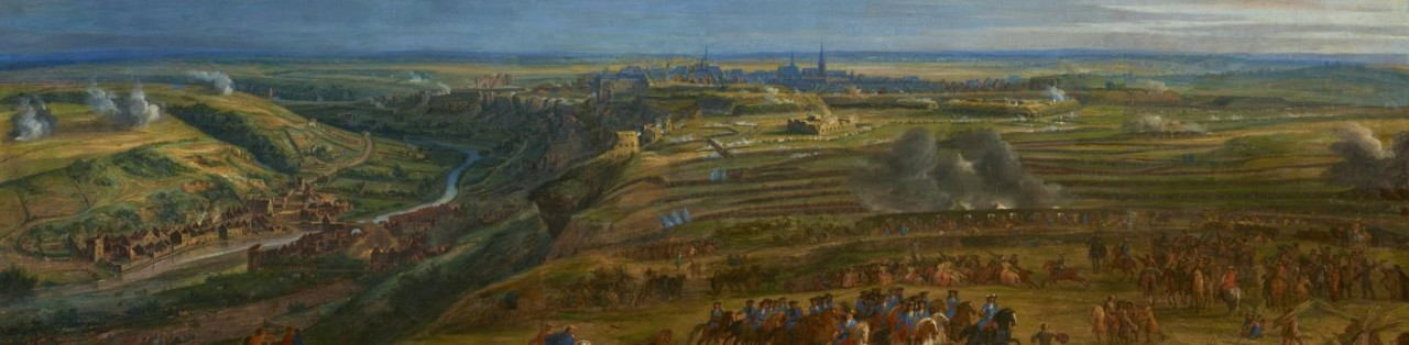 "Painting ""Siege of the fortress of Luxembourg"" (1684) by artist Jean-Baptiste Martin (1659-1735)"